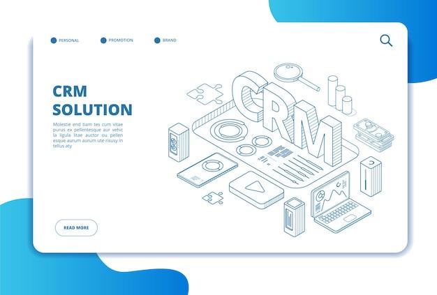 Crm concept. online klantrelatiebeheer. marketing systeemoplossing. ondersteuning voor zakelijke klanten. isometrische bestemmingspagina. crm-beheer, relatie met klant, analyse-illustratie