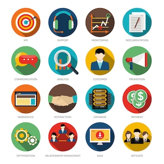Crm ronde icons set