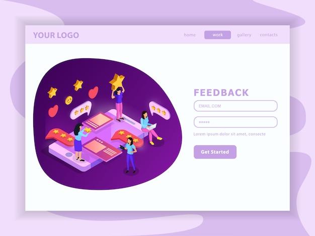 Crm-systeem feedback isometrische landing webpagina met gebruikersaccount en interface-elementen