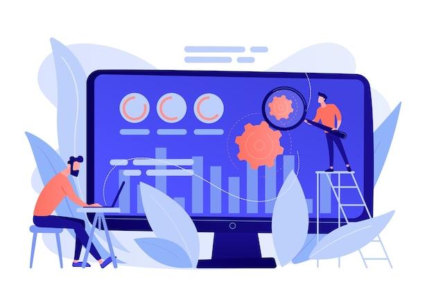Cro-analist en specialist verhogen het klantenpercentage. conversie-optimalisatie, digitaal marketingsysteem, marketingconcept voor leidende attracties. roze koraal bluevector geïsoleerde illustratie