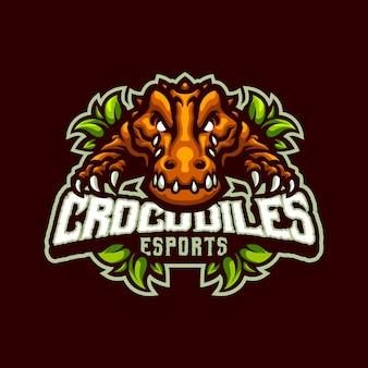 Crocodiles mascot-logo voor esport- en sportteam