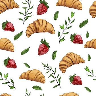 Croissant aardbei vers patroon