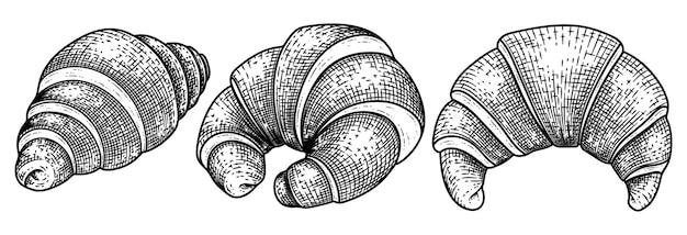 Croissant collectie hand getrokken schets decoratieve vector