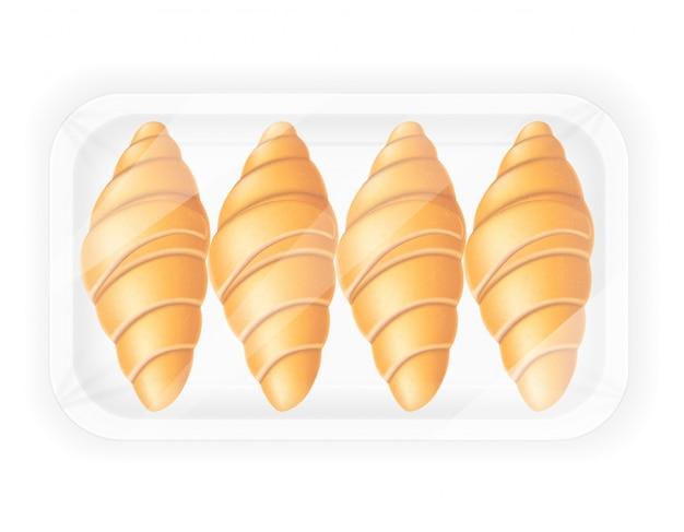 Croissant in de verpakking van vectorillustratie