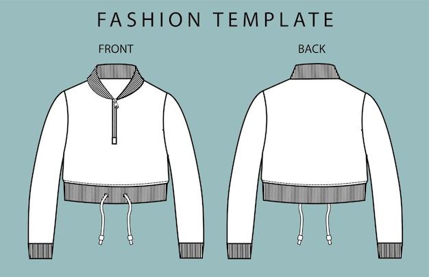 Crop top jas voor- en achteraanzicht