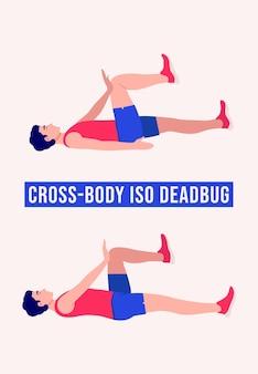 Cross body dead bug-oefening mannen workout fitness aerobics en oefeningen