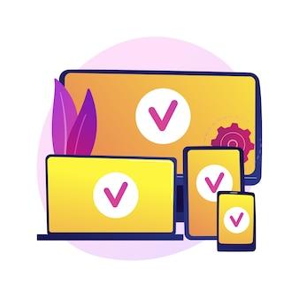 Cross-platform-apparaten. multiplatform-verbinding, synchronisatie van gadgets, adaptieve ontwikkeling. gekoppelde computer, laptop, tablet en smartphone.
