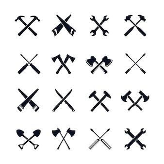 Cross tools icon design element set