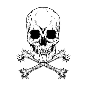 Crossbones, death schedel gevaar gif. black en wit ontwerp