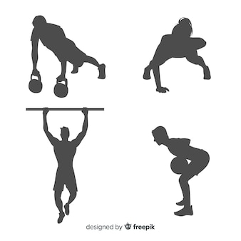 Crossfit training man en vrouw silhouetten collectie
