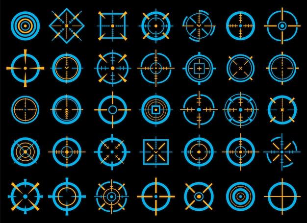 Crosshairs, doel doel, gericht op bullseye pictogrammen.