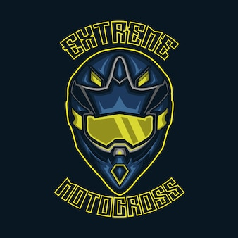 Crosshelm met tekst is extreme bovenaan en motocross onderaan.