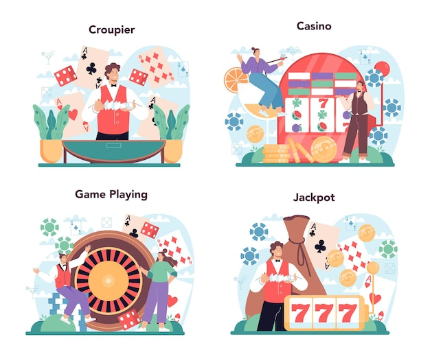 Croupier concept set persoon in uniform achter een gokbalie