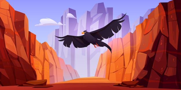 Crow fly in canyon met rode bergen vector cartoon landschap van kloof met stenen kliffen en rotsen...