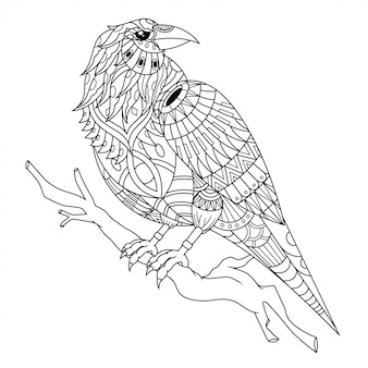 Crow mandala zentangle illustration in lineaire stijl