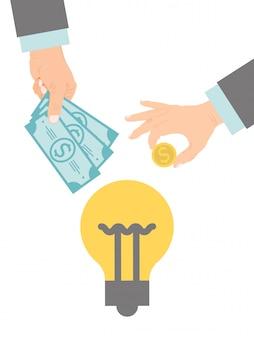 Crowdfunding. crowd gefinancierde onderneming. bedrijfsmodel financiert projecten met gedoneerd geld