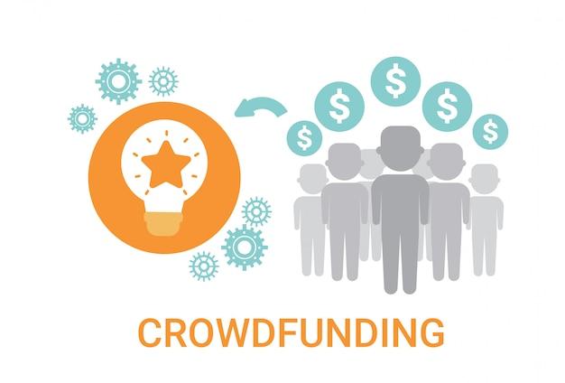 Crowdfunding crowdsourcing bedrijfsmiddelen idee sponsorinvesteringspictogram