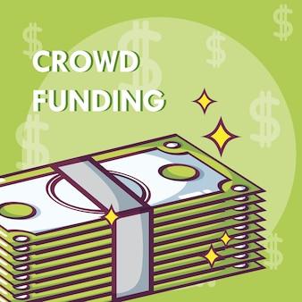 Crowdfunding donaties en investeringsconcept