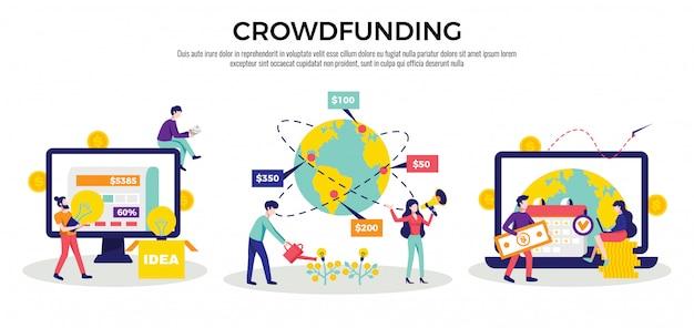 Crowdfunding geld inzamelen van internationale internetplatforms voor het opstarten van goede doelen 3 platte horizontale composities illustratie