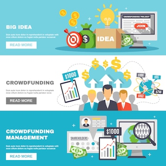 Crowdfunding horizontale banners