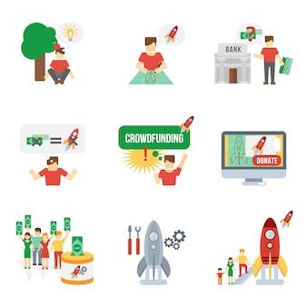 Crowdfunding icons set