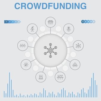 Crowdfunding infographic met pictogrammen. bevat pictogrammen als opstarten, productlancering, financieringsplatform, community