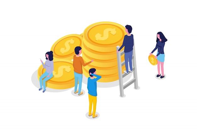 Crowdfunding isometrisch concept met mensen. vector illustratie.