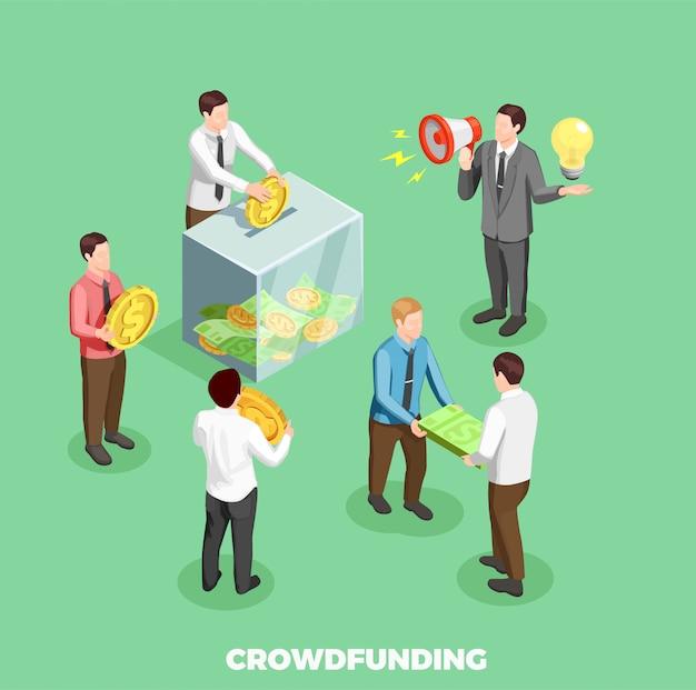 Crowdfunding isometrische samenstelling