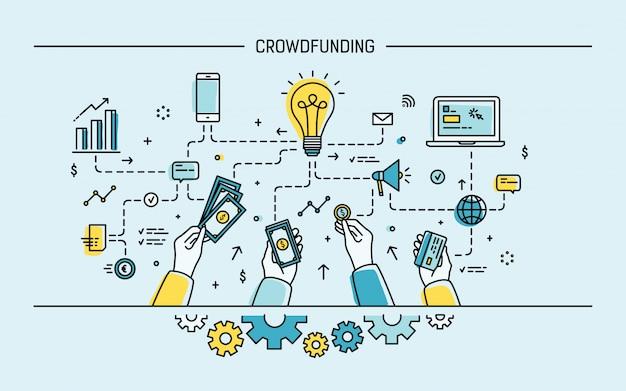Crowdfunding. lijn kunst kleurrijke platte illustratie.