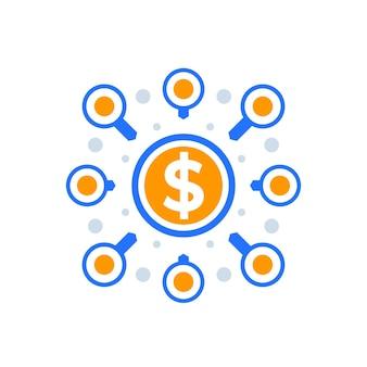 Crowdfunding, projectfinanciering, financieringspictogram