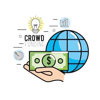 Crowdfunding strategie project om ondersteuning te financieren