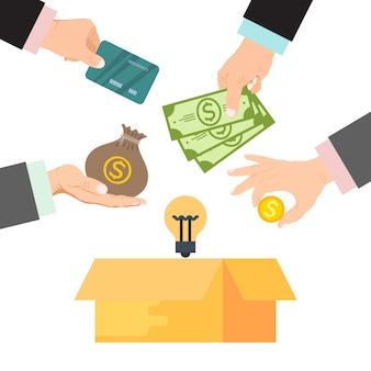 Crowdfunding vectorillustratie. kartonnen doos omringd door handen met geld, zak geld en creditcards. financieringsproject door gedoneerd geld