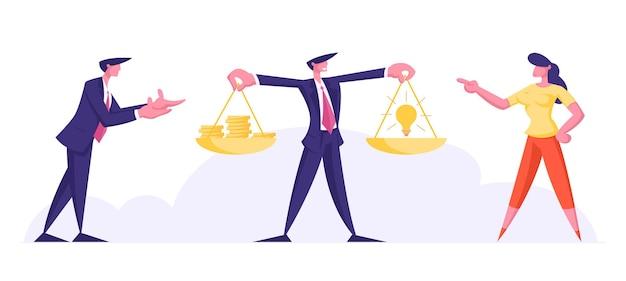 Crowdfunding, winstgevend idee-concept. zakenman en zakenvrouw staan op de weegschaal