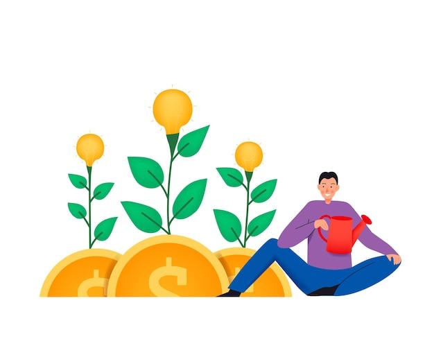 Crowdfundingsamenstelling met vlakke afbeelding van planten die op munten groeien en man met gieter