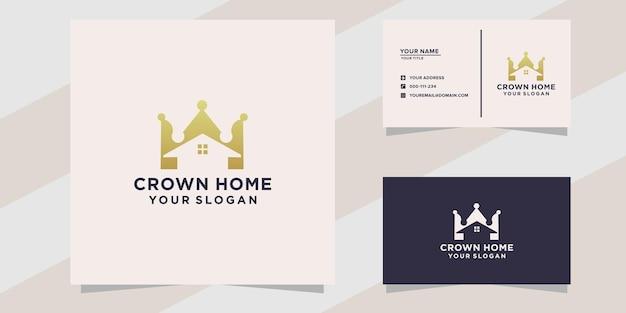 Crown home-logo en visitekaartjesjabloon