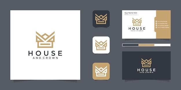 Crown house-logo-inspiratie met lijnstijl en inspiratie voor visitekaartjes