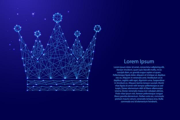 Crown royal imperial pictogramschema van futuristische veelhoekige blauwe lijnen en gloeiende sterren voor banner, poster, wenskaart.