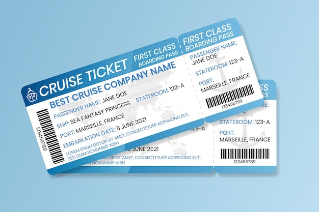 Cruise boarding pass ontwerpsjabloon