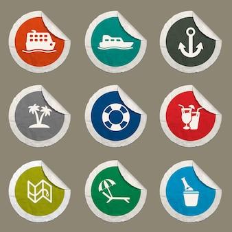 Cruisepictogrammen ingesteld voor websites en gebruikersinterface Premium Vector
