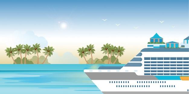 Cruiseschip dat op blauwe waterbanner vaart