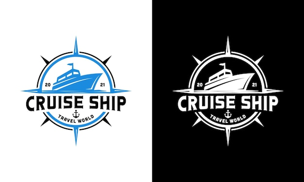 Cruiseschip met kompas. marine reis navigatie logo ontwerpsjabloon
