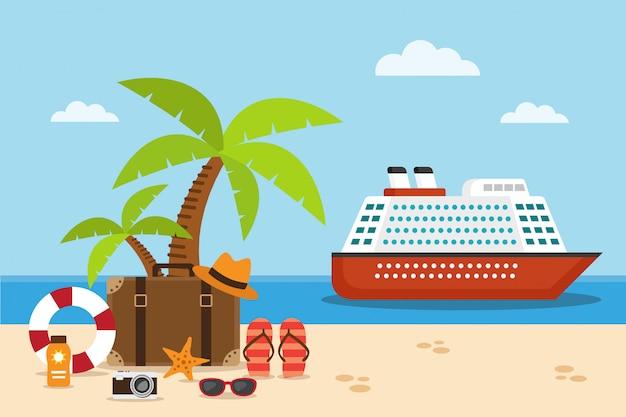 Cruiseschip op de zee en koffer op het strand