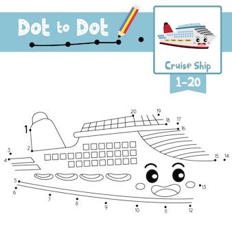 Cruiseschip punt naar punt spel en kleurboek