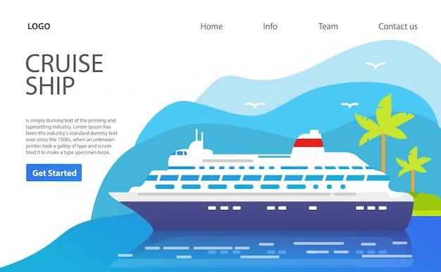 Cruiseschip. webpagina. website sjabloon. eiland met palmbomen. zomer vakantie reizen