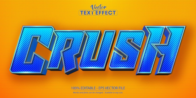 Crush-tekst, bewerkbare tekst in cartoonstijl effe
