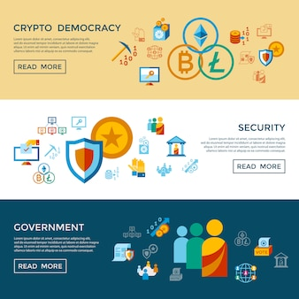 Crypto-democratie en veiligheid iconen collectie