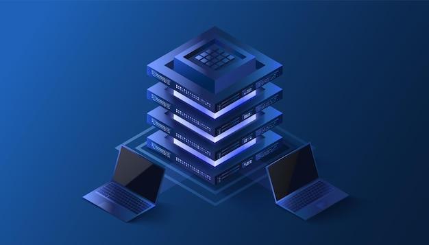 Crypto isometrische illustratie mijnbouwtechnologieconcept laptops verbonden met blockchain-server