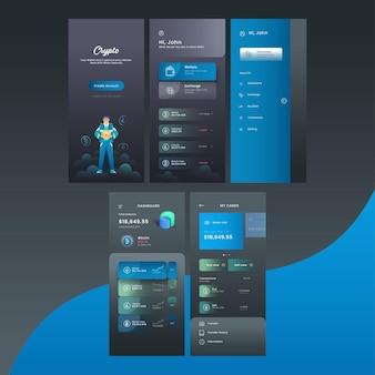 Crypto mobile app ui, ux, gui-schermen zoals account maken