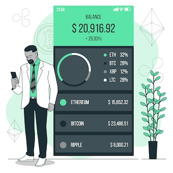 Crypto portefeuille concept illustratie