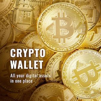 Crypto portemonnee financiering sjabloon vector open-source blockchain social media post